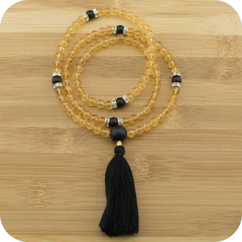 Citrine Mala with Matte Black Onyx - Meditative Wisdom