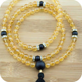 Citrine Meditation Mala Beads Necklace with Matte Black Onyx - Meditative Wisdom