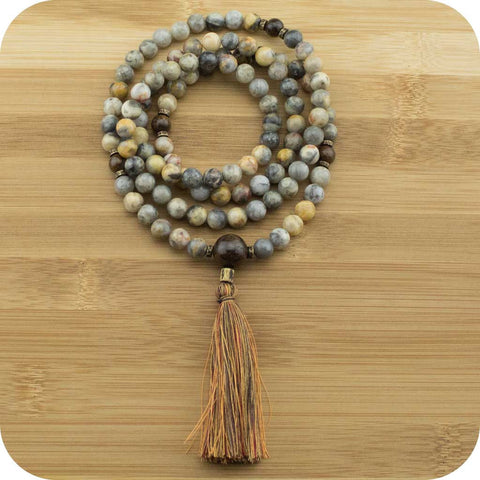 Crazy Lace Agate Meditation Mala Beads Necklace with Bronzite - Meditative Wisdom