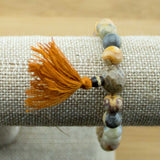 Crazy Lace Agate Mala Bracelet with Antique Glass - Meditative Wisdom