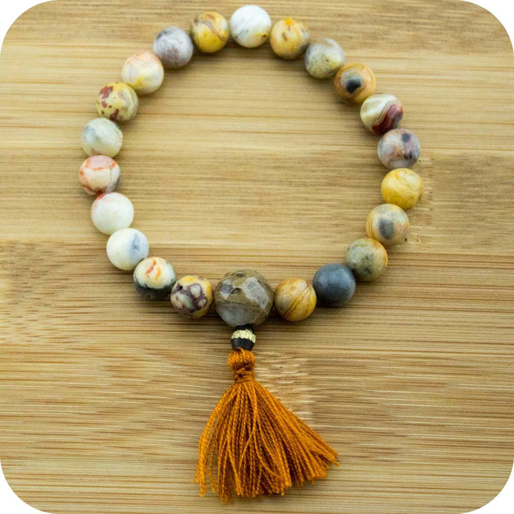 Crazy Lace Agate Wrist Mala Bracelet with Antique Glass - Meditative Wisdom