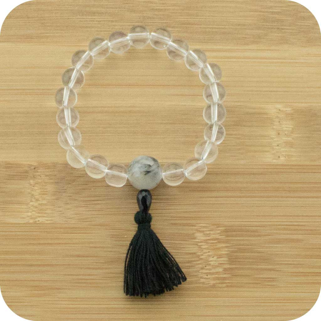 Quartz Crystal Mala Beads Bracelet with Tourmilated Quartz - Meditative Wisdom