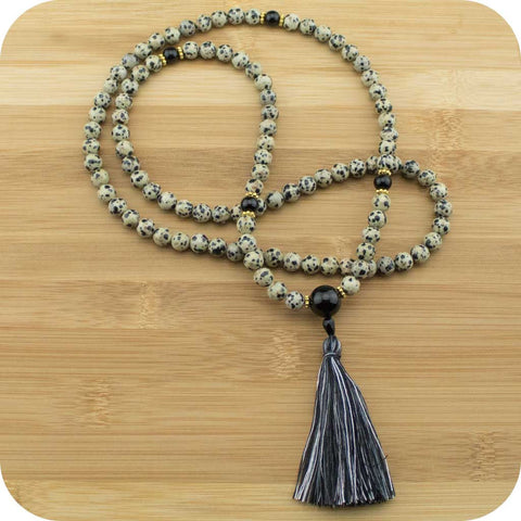 Dalmatian Jasper Meditation Beads Mala with Black onyx - Meditative Wisdom