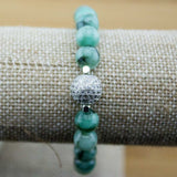 Emerald Yoga Jewelry Bracelet with Cubic Zirconia Pave - Meditative Wisdom