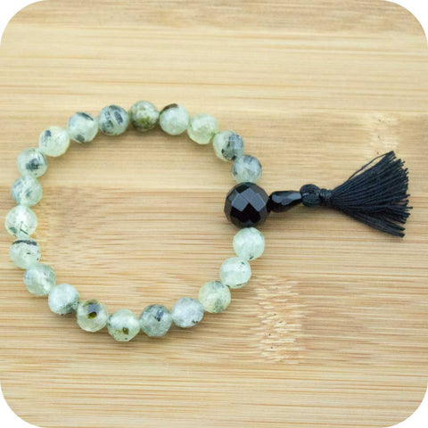 Faceted Prehnite Wrist Mala Bracelet with Black Onyx - Meditative Wisdom
