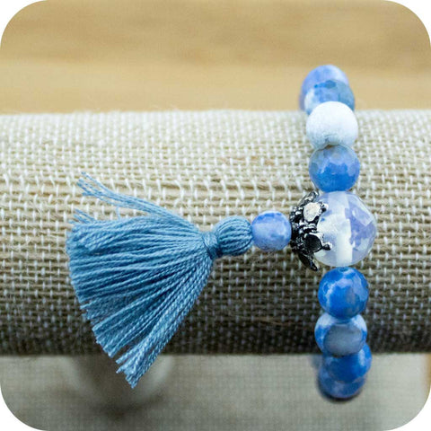 Faceted Sky Blue Fire Agate Wrist Mala Bracelet with Opalite - Meditative Wisdom