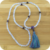 Faceted Opalite Mala with Amethyst - Meditative Wisdom