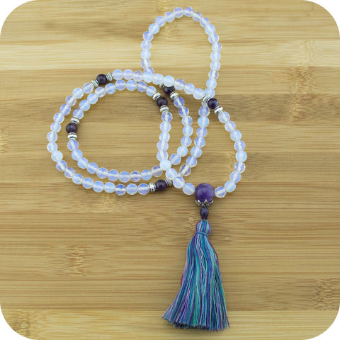 Faceted Opalite Mala Beads Necklace with Amethyst - Meditative Wisdom