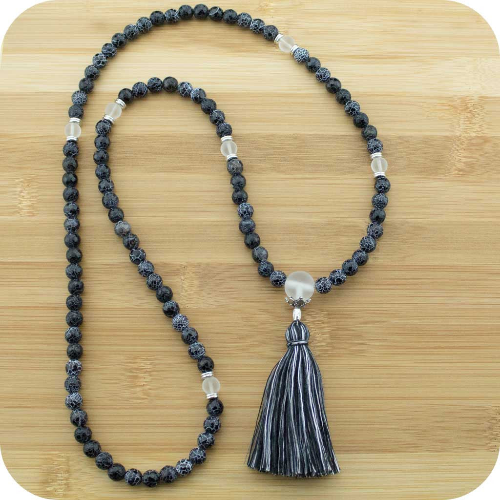Faceted Black Fire Agate Mala with Matte Crystal Quartz - Meditative Wisdom
