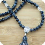 Black Fire Agate Meditation Mala Beads Necklace with Crystal Quartz - Meditative Wisdom