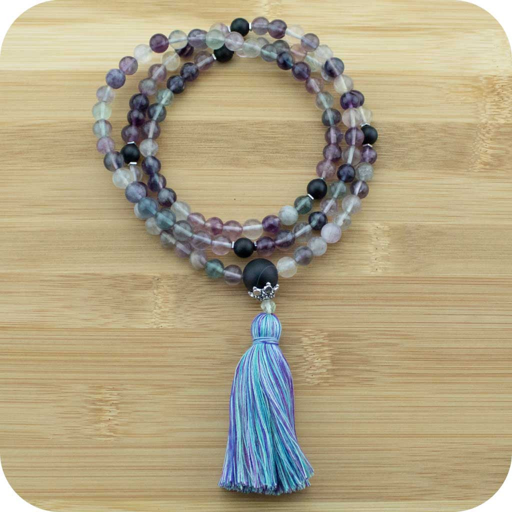 Fluorite Meditation Mala Beads Necklace with Matte Black Onyx - Meditative Wisdom