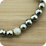 Faceted Golden Hematite Wrist Mala Bracelet with Gold Crystal Pave - Meditative Wisdom