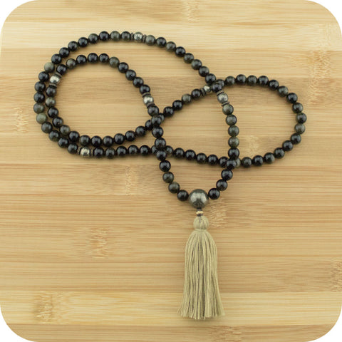 Gold Obsidian Mala with Golden Hematite - Meditative Wisdom