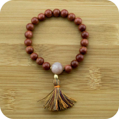 Gold Sandstone Mala Beads Bracelet with Peach Moonstone - Meditative Wisdom