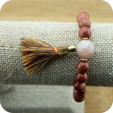 Gold Sandstone Wrist Mala Bracelet with Peach Moonstone - Meditative Wisdom
