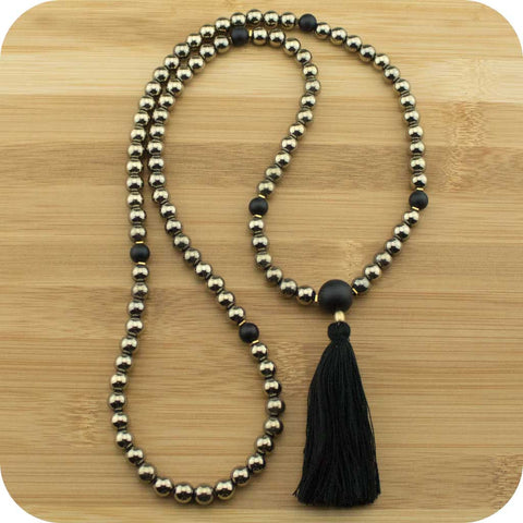 Golden Hematite Meditation Mala Beads Necklace with Matte Black Onyx - Meditative Wisdom