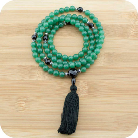 Green Aventurine Meditation Mala Beads with Faceted Black Onyx - Meditative Wisdom