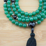 Green Aventurine Mala with Faceted Black Onyx - Meditative Wisdom