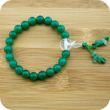Green Aventurine Buddhist Mala Bracelet with Faceted Crystal Quartz - Meditative Wisdom