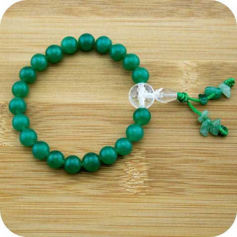 Green Aventurine Wrist Mala Bracelet with Faceted Crystal Quartz - Meditative Wisdom