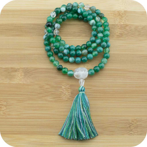 Green Sardonyx Agate Meditation Mala Beads with Ice Quartz Crystal - Meditative Wisdom