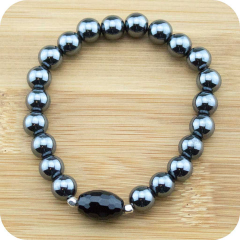 Hematite Wrist Mala Bracelet with Faceted Black Onyx - Meditative Wisdom