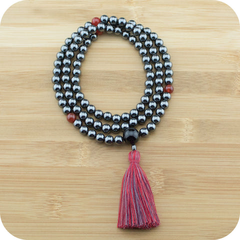 Hematite Mala Beads Necklace with Carnelian & Black Onyx - Meditative Wisdom