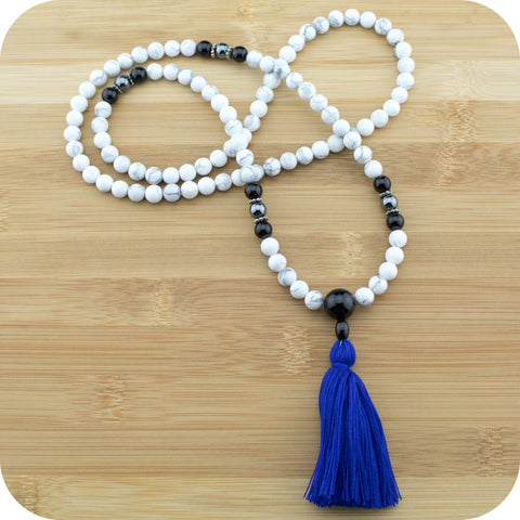 Howlite Mala with Black Onyx - Meditative Wisdom