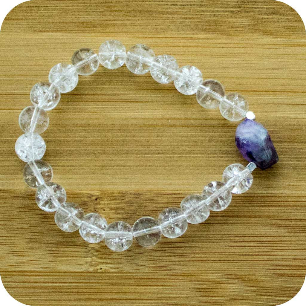Ice Quartz Crystal Wrist Mala Bracelet with Amethyst - Meditative Wisdom