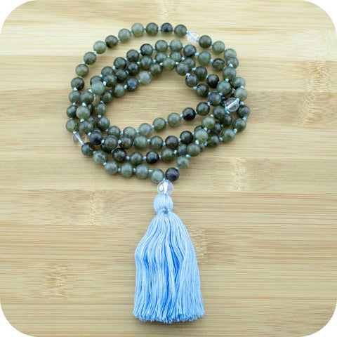 Hand Knotted Labradorite Yoga Mala with Rainbow Quartz - Meditative Wisdom