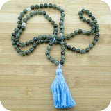 Knotted Labradorite Japa Mala Beads with Rainbow Quartz - Meditative Wisdom