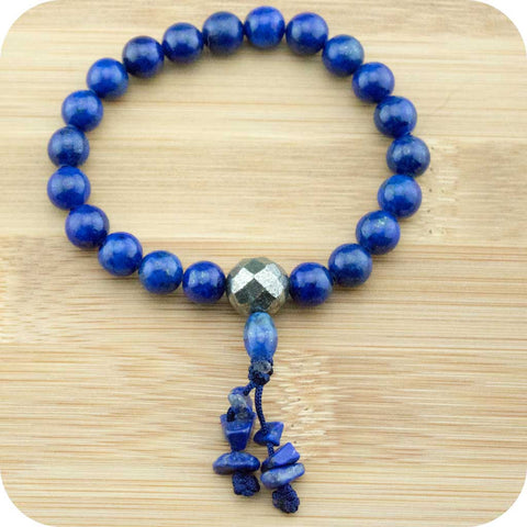 Lapis Lazuli Buddhist Mala Bracelet with Faceted Pyrite - Meditative Wisdom