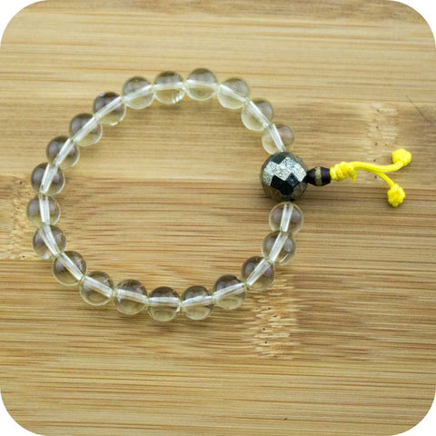 Lemon Quartz Crystal Wrist Mala Bracelet with Faceted Pyrite - Meditative Wisdom