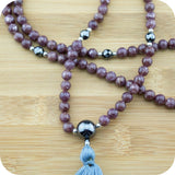 Lepidolite Mala with Faceted Hematite