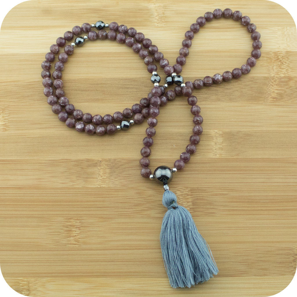 Lepidolite Mala with Faceted Hematite - Meditative Wisdom