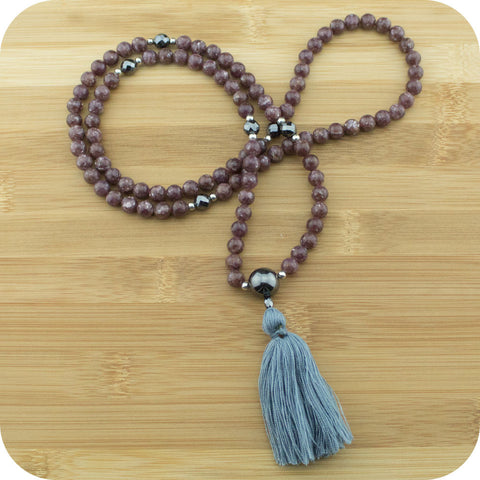 Lepidolite Mala with Faceted Silver Hematite - Meditative Wisdom