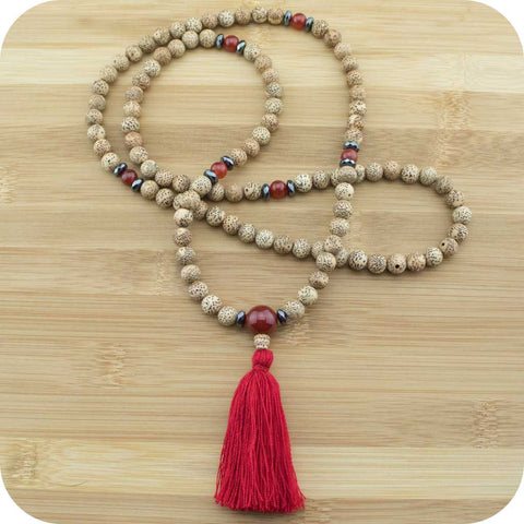 Lotus Seed Meditation Mala Beads with Carnelian - Meditative Wisdom