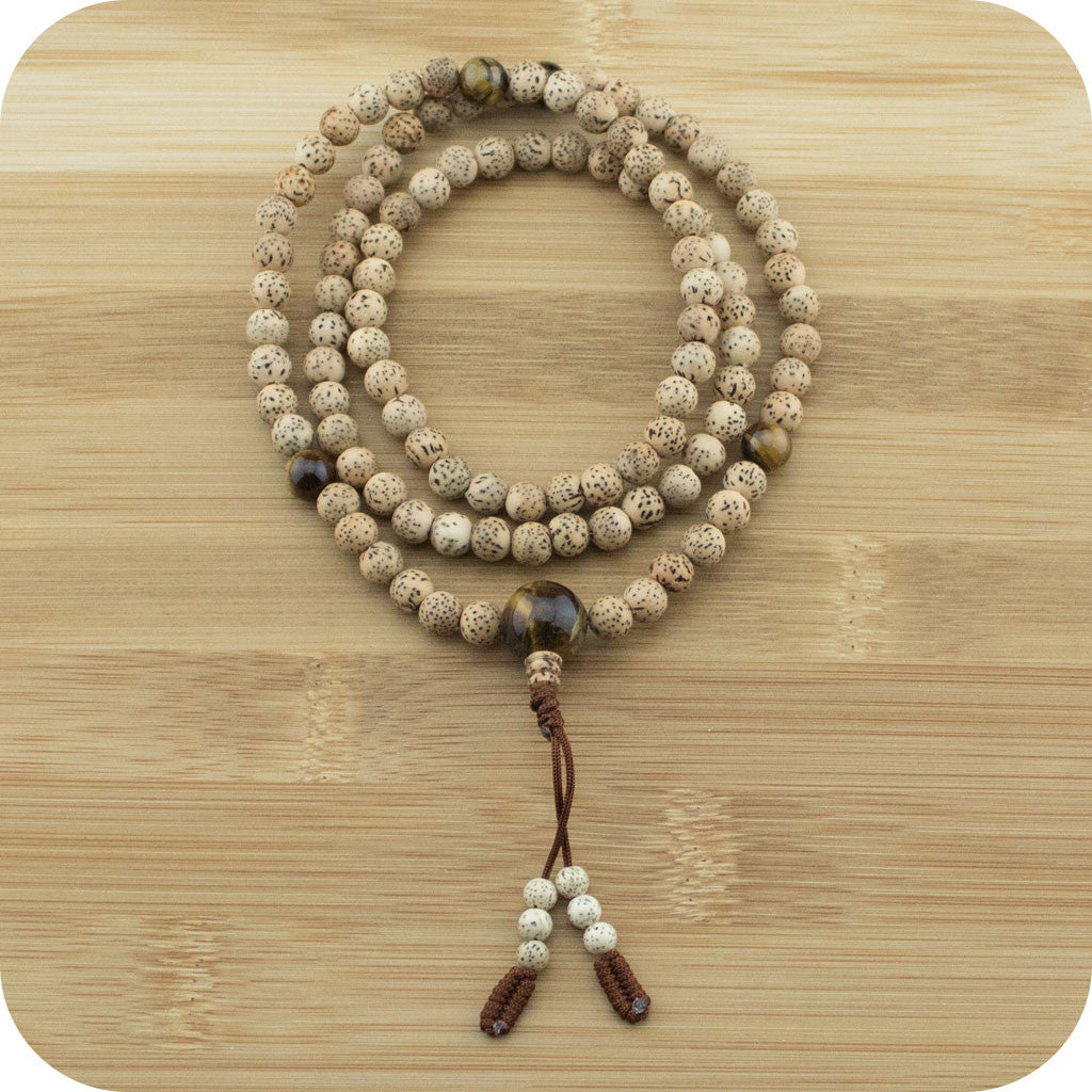 Buddhist Prayer Beads Mala with Lotus Seed & Tigers Eye - Meditative Wisdom