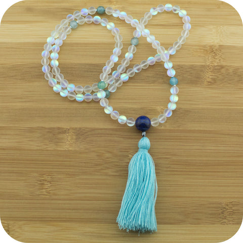 Matte Aura Crystal Quartz Mala Beads Necklace with Lapis Lazuli - Meditative Wisdom