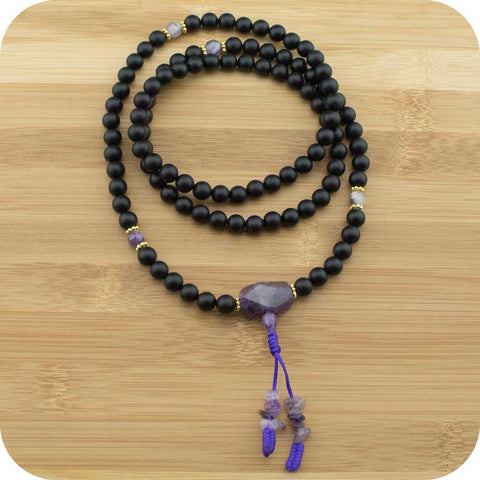 Matte Black Onyx Buddhist Prayer Beads with Amethyst - Meditative Wisdom