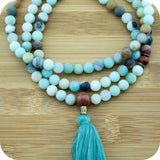 Multi Colored Matte Amazonite Mala with Gold Sandstone - Meditative Wisdom