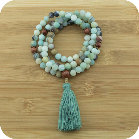 Matte Amazonite Meditation Mala Beads Necklace with Gold Sandstone - Meditative Wisdom