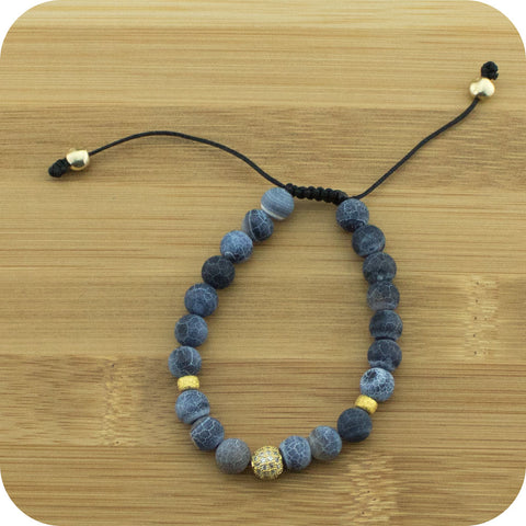 Matte Black Fire Agate Yoga Beads Bracelet with Gold Crystal Pave - Meditative Wisdom