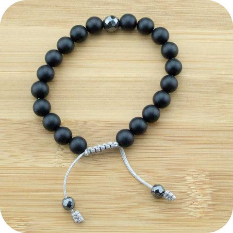 Matte Black Onyx Wrist Mala Bracelet with Faceted Hematite Guru - Meditative Wisdom