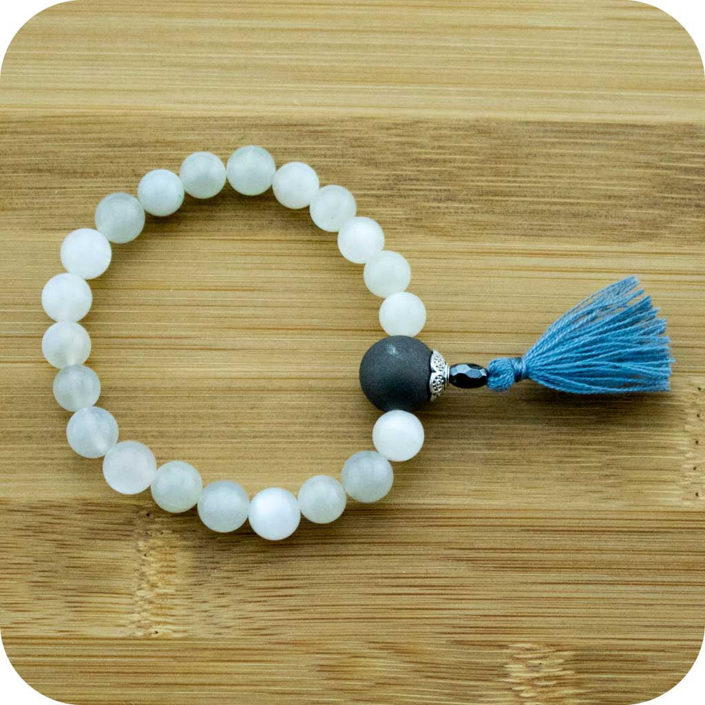Moonstone Mala Beads Bracelet with Matte Black Onyx - Meditative Wisdom