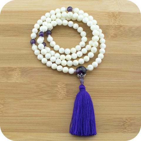 Mother of Pearl Meditation Mala Beads with Amethyst - Meditative Wisdom