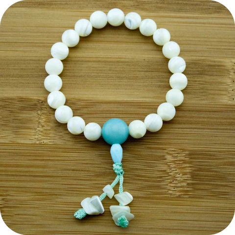 Mother of Pearl Buddhist Mala Bracelet with Amazonite - Meditative Wisdom
