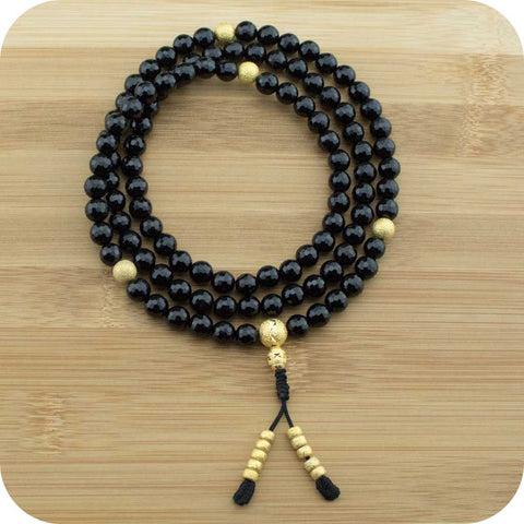 Faceted Black Onyx Buddhist Prayer Beads Necklace with Gold Plated Brass - Meditative Wisdom