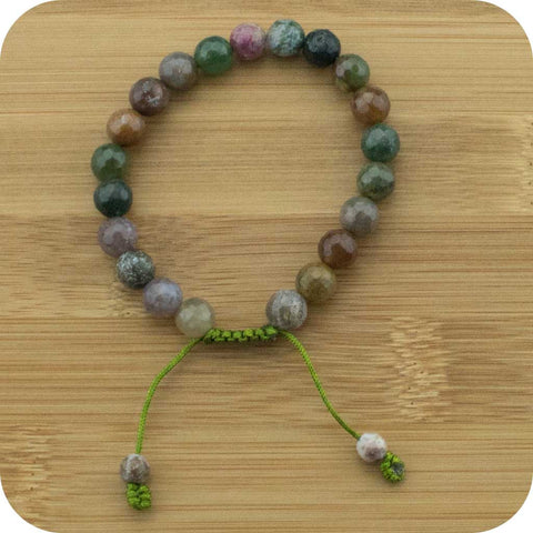 Faceted Ocean Jasper Yoga Beads Bracelet - Meditative Wisdom