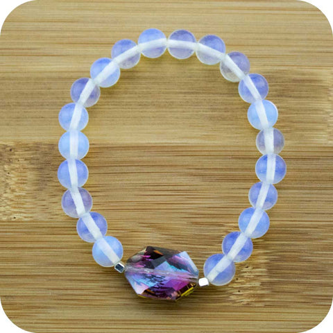 Opalite Wrist Mala Bracelet with Opalized Glass - Meditative Wisdom